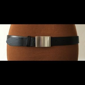 Gap Black Leather Belt with Silver Square Buckle